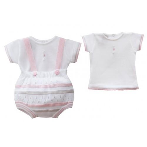 Baby Girls Knit Top & Dungaree Set